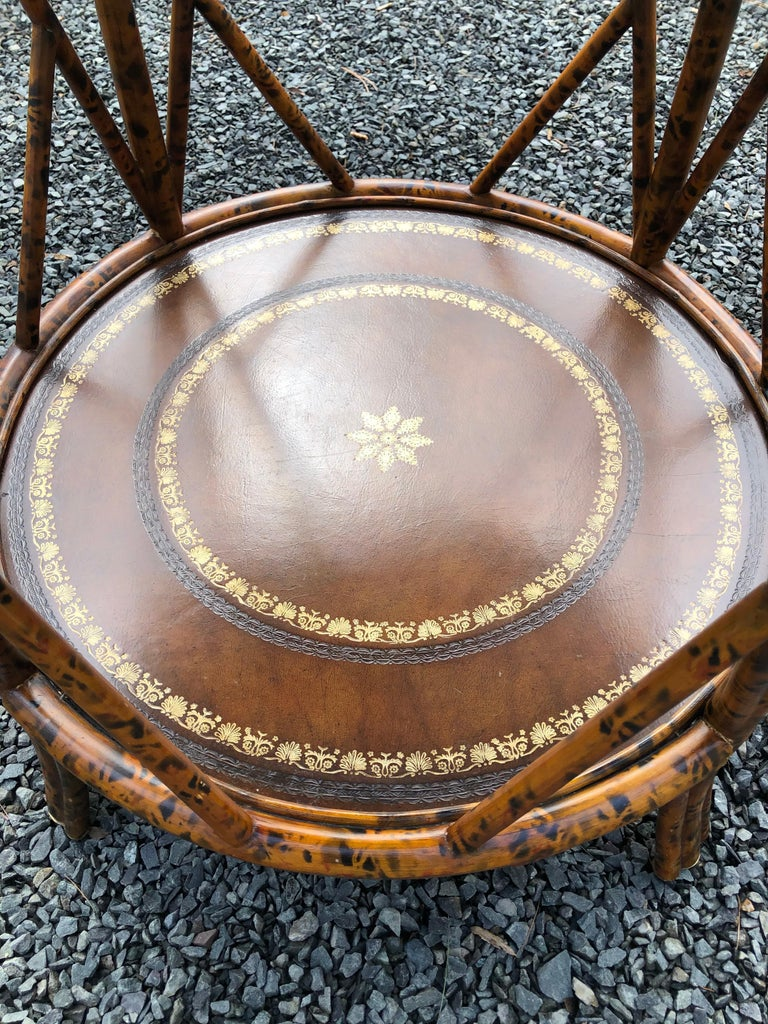 Handsome Two Tier Round Bamboo & Leather Side Table 1
