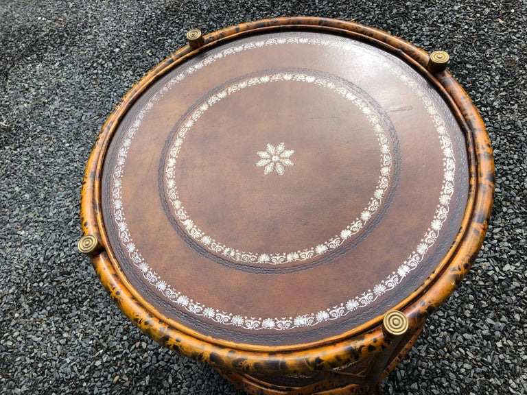 Handsome Two Tier Round Bamboo & Leather Side Table 3