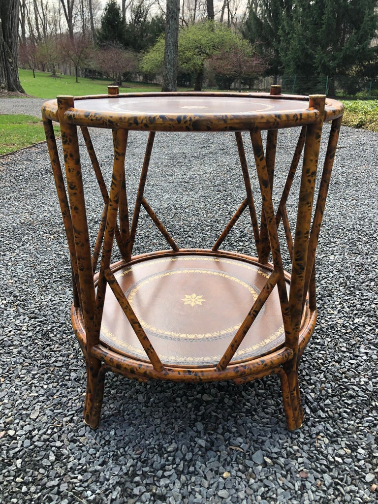 Handsome Two Tier Round Bamboo & Leather Side Table 4
