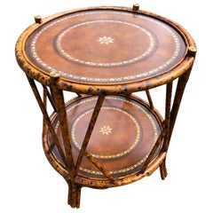 Handsome Two Tier Round Bamboo & Leather Side Table