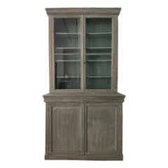 Handsome Vintage Grey and Blue French Display Cabinet