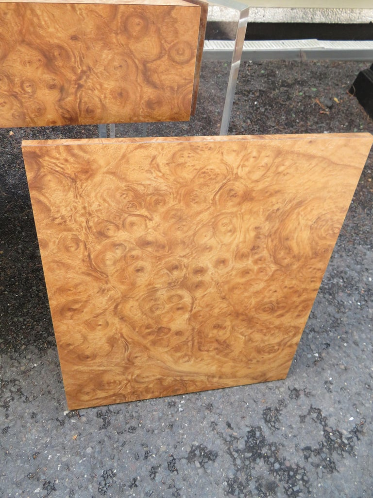 Handsome Burl Laminate Game Table Desk with Lucite Chair For Sale 4