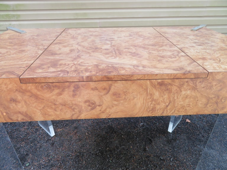 Handsome Burl Laminate Game Table Desk with Lucite Chair For Sale 5