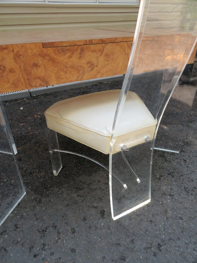 Handsome Burl Laminate Game Table Desk with Lucite Chair For Sale 6