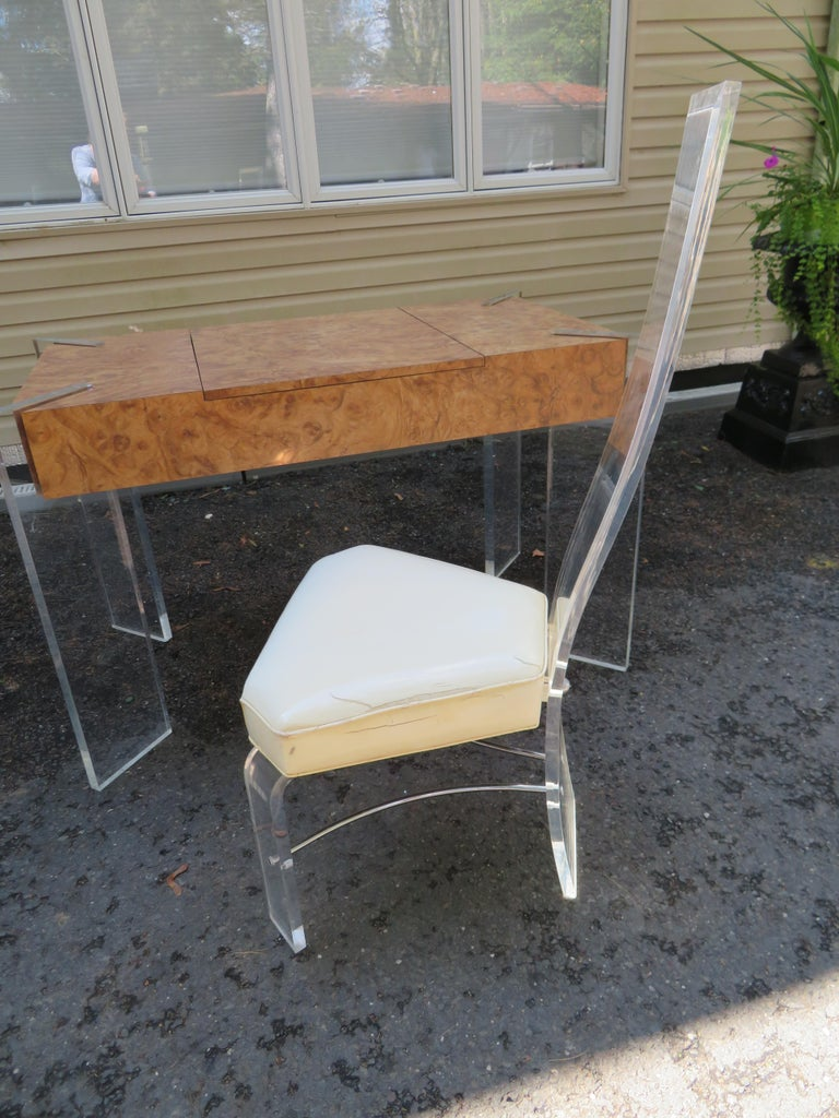 Handsome Burl Laminate Game Table Desk with Lucite Chair For Sale 7