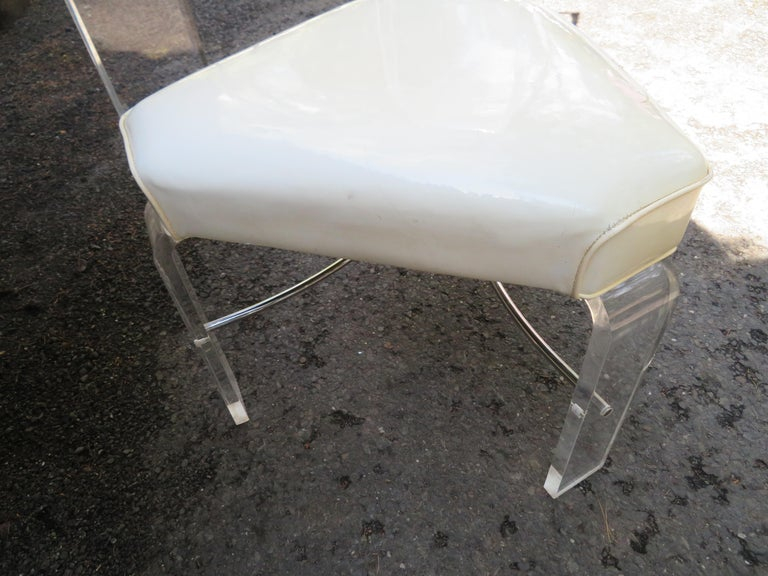 Handsome Burl Laminate Game Table Desk with Lucite Chair For Sale 8