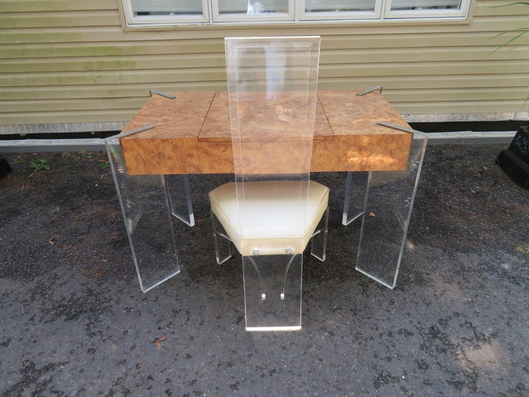 Handsome Burl Laminate Game Table Desk with Lucite Chair For Sale 11