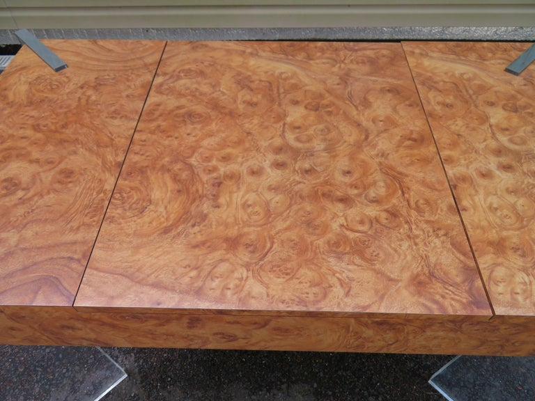 Mid-Century Modern Handsome Burl Laminate Game Table Desk with Lucite Chair For Sale