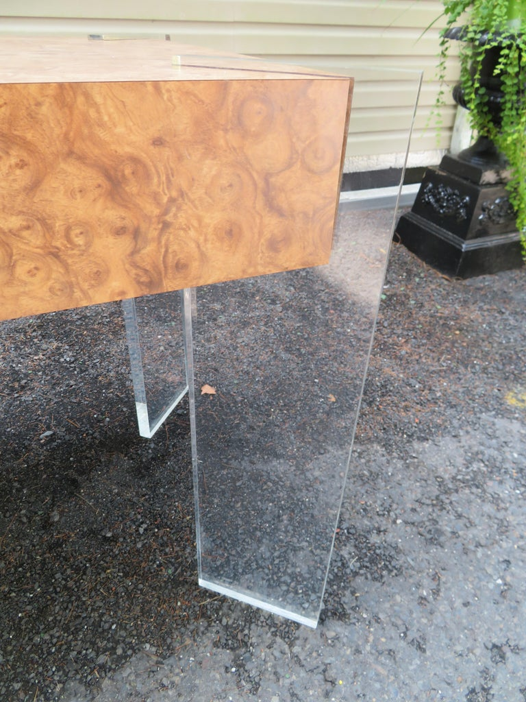 Late 20th Century Handsome Burl Laminate Game Table Desk with Lucite Chair For Sale