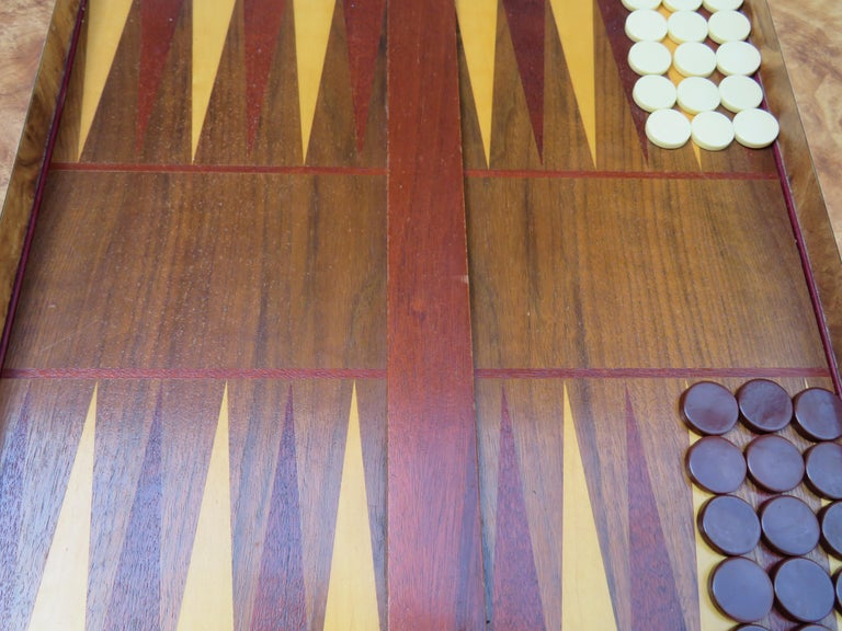 Handsome Burl Laminate Game Table Desk with Lucite Chair For Sale 2