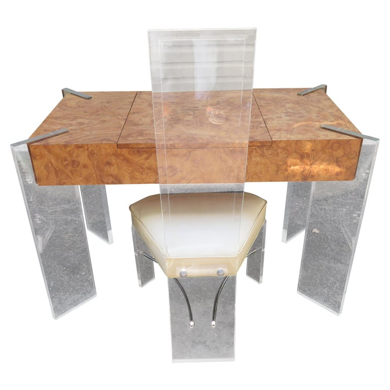 Handsome Burl Laminate Game Table Desk with Lucite Chair For Sale