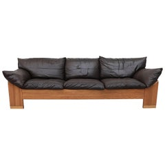 Handsome Well Loved Leolux 3-Seat Buffalo Leather Sofa
