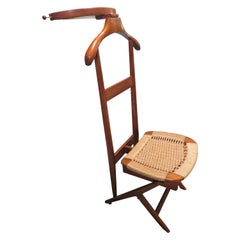 Handsome Wood Rope Valet Chair Manner of Ico Parisi Mid-Century Modern