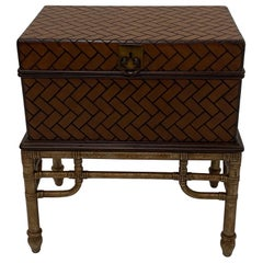 Handsome Woven Wooden Box on Bamboo Stand End Table