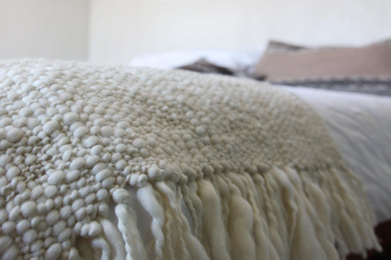 Argentine Handwoven 100% Merino Wool Throw, Medium Weave, Made in Argentina For Sale