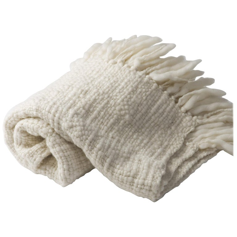 Handwoven 100% Merino Wool Throw, Medium Weave, Made in Argentina For Sale