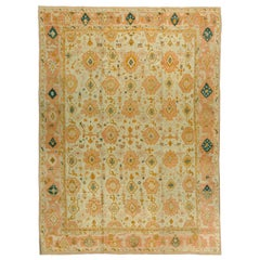 Handwoven 19th Century Antique Turkish Oushak Rug