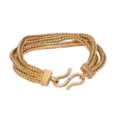 Handwoven 22 Karat Gold Triple Strand Bracelet