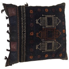 Handwoven Afghan Baluch Saddle Tribal Bag, 1880s Large Floor Pillow