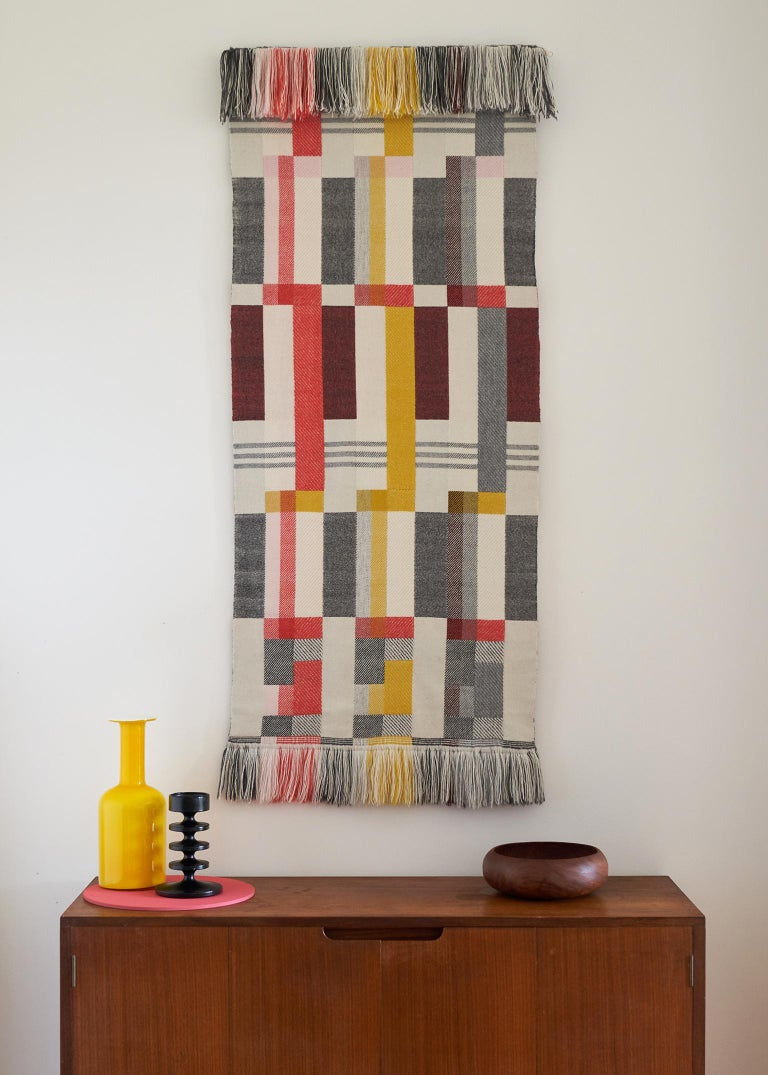 Handwoven on a dobby loom in Pamela's studio using a complex double cloth weaving technique and a combination of weave structures, this unique wall hanging draws inspiration from the Art Deco and Bauhaus movements.  This striking contemporary
