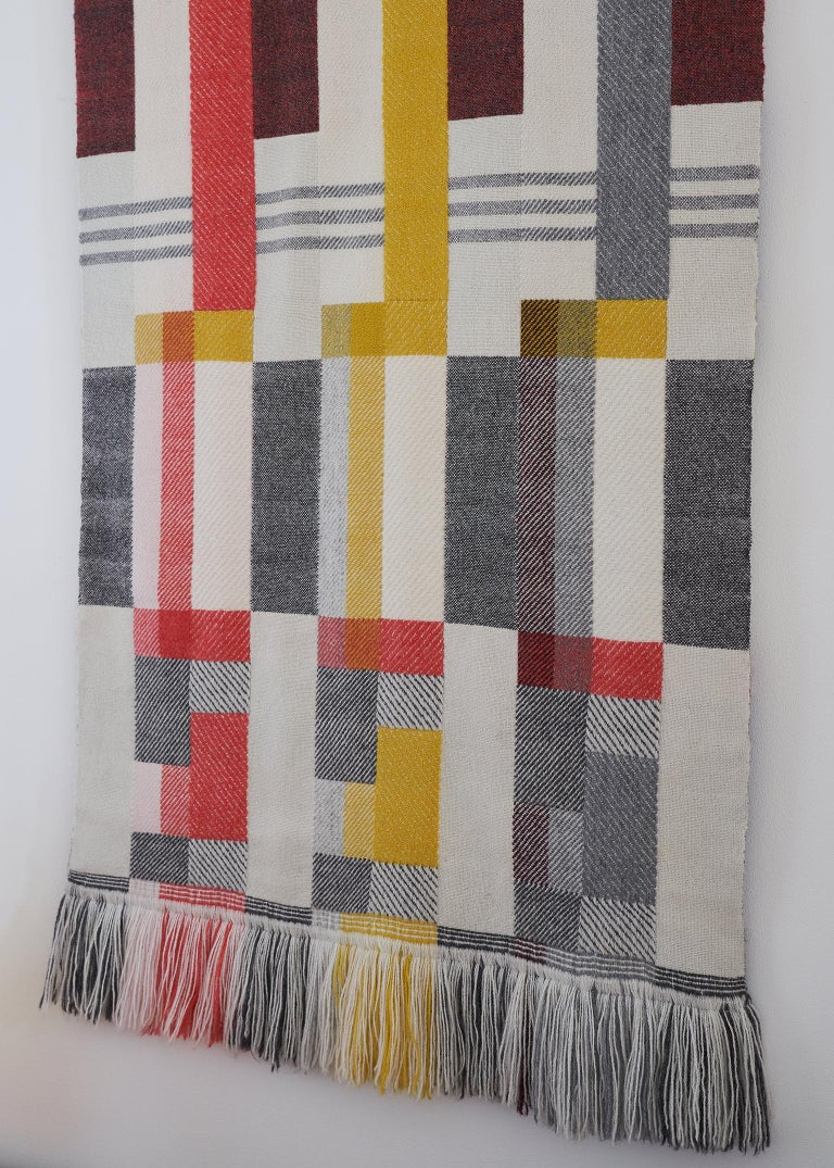 Hand-Woven Handwoven 'Altitude Cent' Double Faced Bauhaus Merino Wool Wall Hanging For Sale