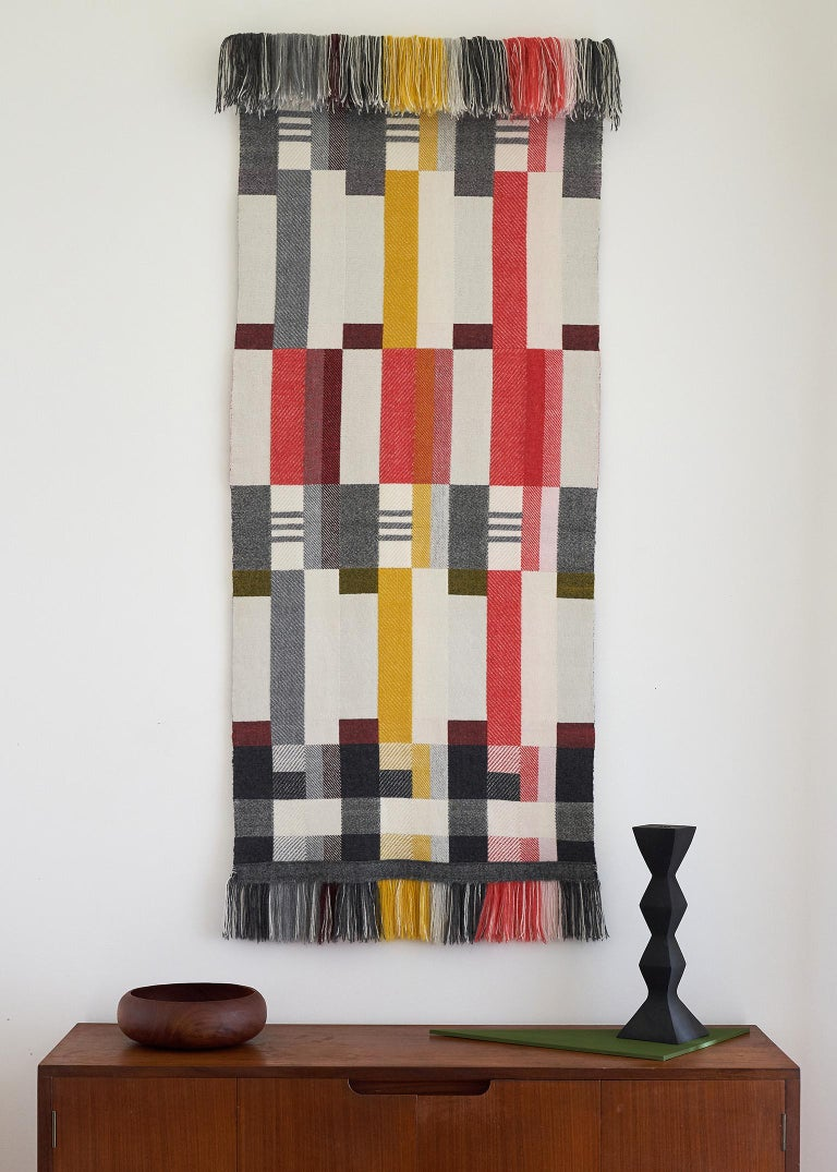 Handwoven 'Altitude Cent' Double Faced Bauhaus Merino Wool Wall Hanging In New Condition For Sale In Chelmsford, GB