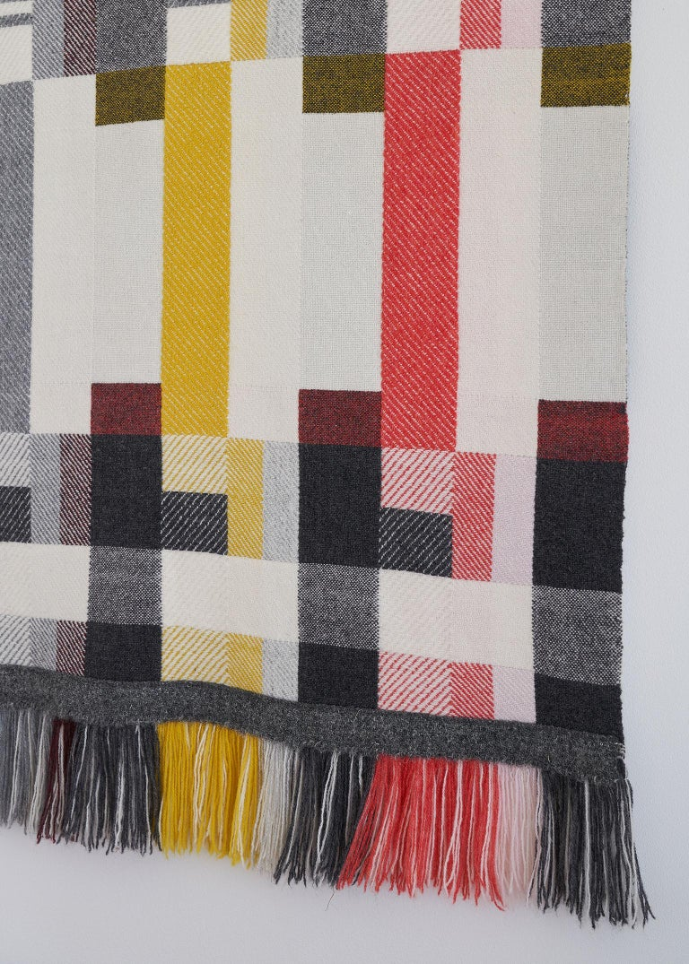 Contemporary Handwoven 'Altitude Cent' Double Faced Bauhaus Merino Wool Wall Hanging For Sale