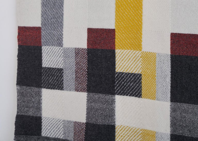 Handwoven 'Altitude Cent' Double Faced Bauhaus Merino Wool Wall Hanging For Sale 1