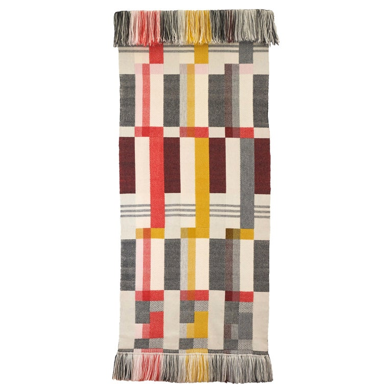 Handwoven 'Altitude Cent' Double Faced Bauhaus Merino Wool Wall Hanging For Sale