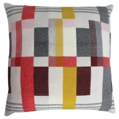 Handwoven 'Altitude Cent I' Bauhaus Merino Wool Large Cushion Pillow