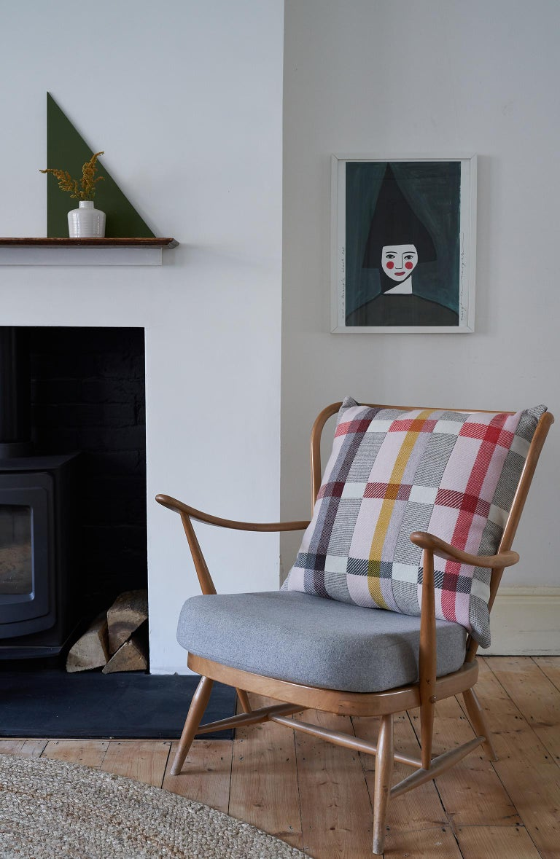 Mid-Century Modern Handwoven 'Altitude Cent II' Bauhaus Merino Wool Large Cushion Pillow For Sale