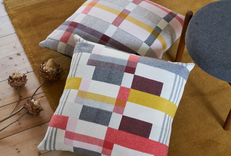 Hand-Woven Handwoven 'Altitude Cent II' Bauhaus Merino Wool Large Cushion Pillow For Sale