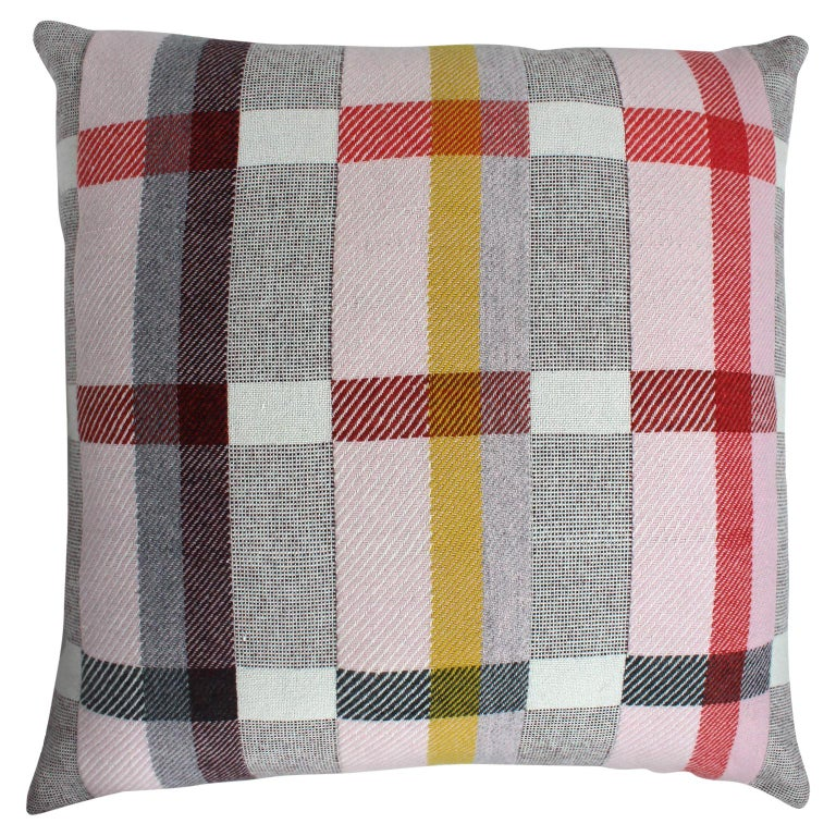 Handwoven 'Altitude Cent II' Bauhaus Merino Wool Large Cushion Pillow For Sale