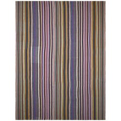 Handwoven Anatolian Multi-Color Striped Vintage Kilim