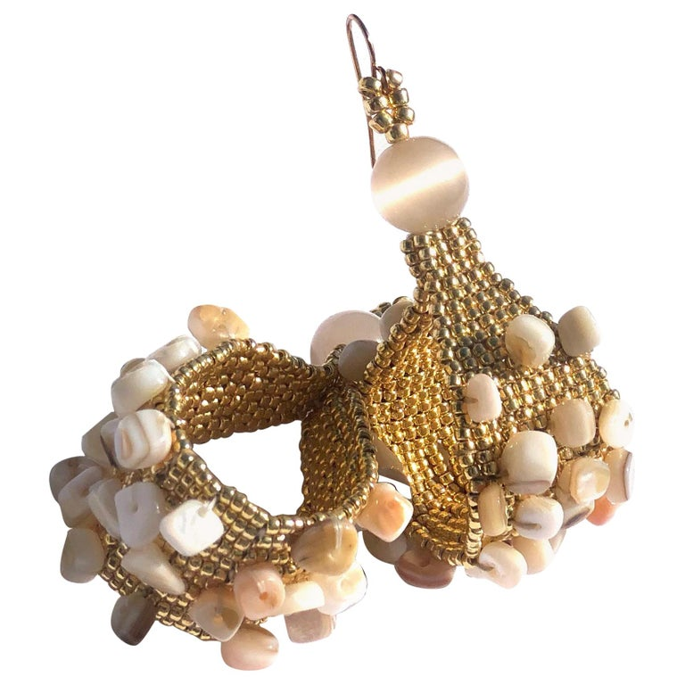 Madre Hija Handwoven and Gold Plated Conchita Hoops with Conch Shell Chip Beads For Sale