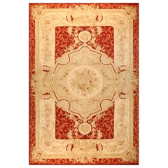 Handwoven Antique Aubusson Wool and Silk Rug, circa 1970s