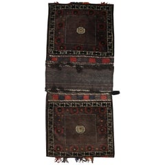 Handwoven Antique Baluch, Tribal Wool Carpet Oriental Living Room Rug, 1910