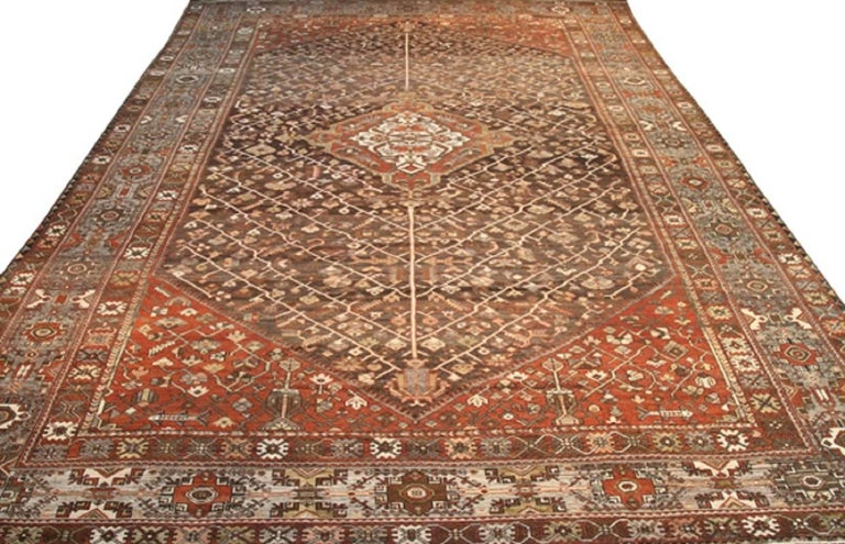 Handwoven Antique Persian Bakhtiari Circa 1930 Free