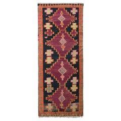 Handwoven Antique Persian Kilim Rug in Wine Black and Orange Geometric Pattern