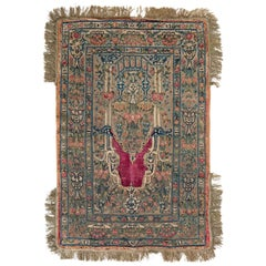 Handwoven Antique Tapestry in Beige-Green and Red Floral Patterns