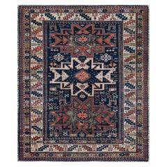 Handwoven Antique Wool Caucasian Rug