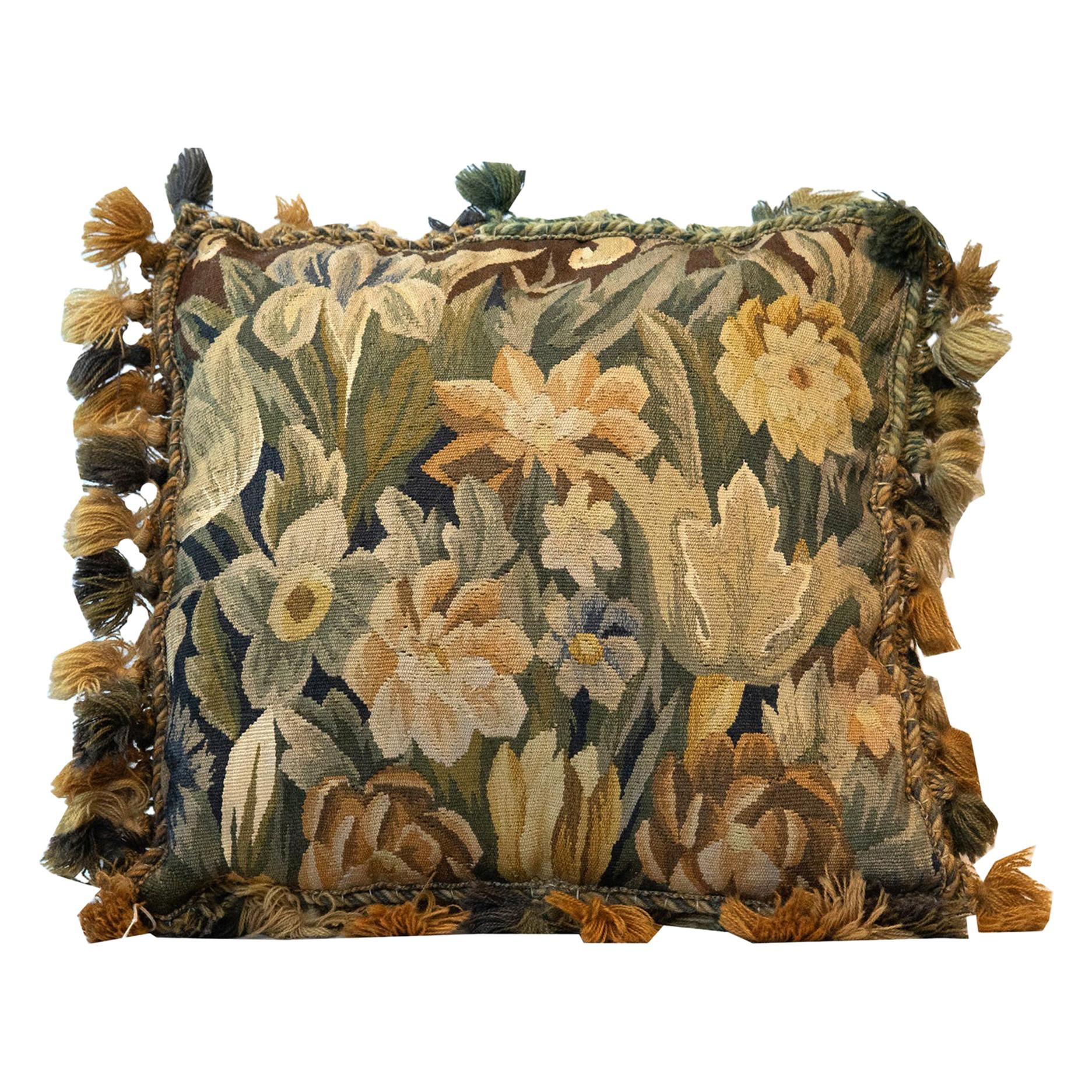 Handwoven Aubusson Cushion Cover Green Beige Pillow Case