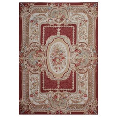 Handwoven Aubusson Style Rug, Needlepoint Flat-Weave Floral Patterned Red Rug