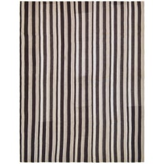 Handwoven Black & White Striped Vintage Kilim