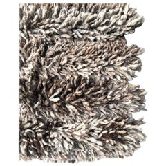 Handwoven Blend Wool Rug, Organic Modern Tailored Shag Style, in Stock