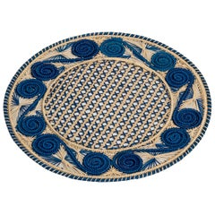 Handwoven Blue and Cream Iraca Fibre Placemat's' Made in Colombia