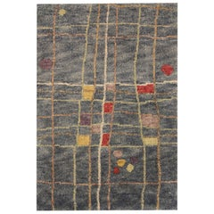 Handwoven Blue Door Mat, Modern Small Wool Rug Abstract Carpet