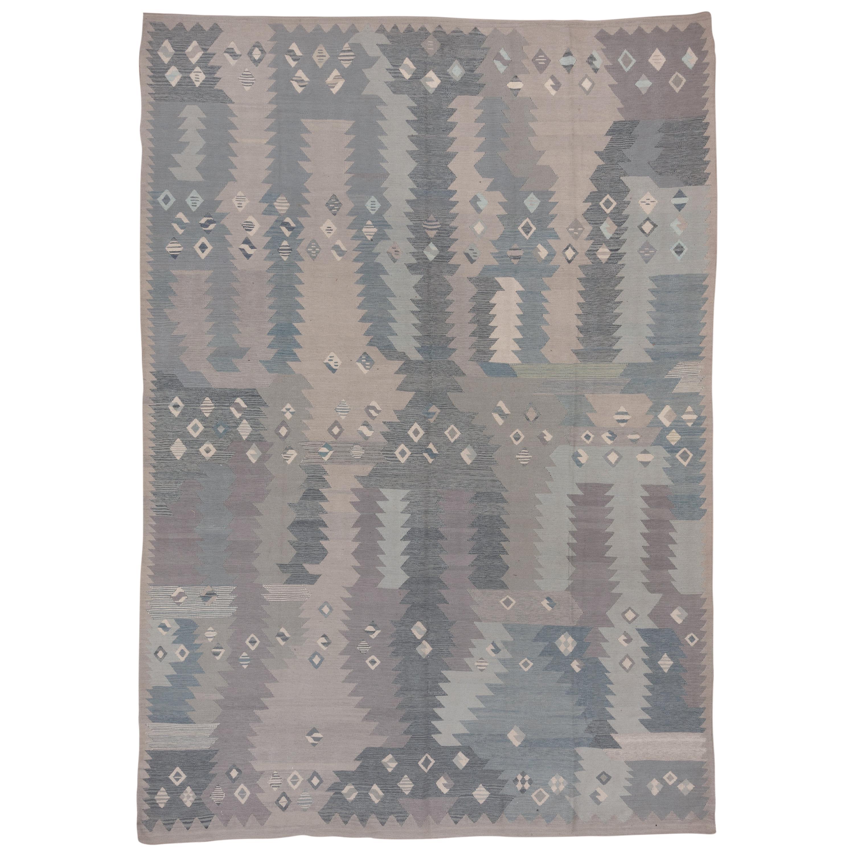 Handwoven Blue & Gray Scandinavian Design Flatweave Rug