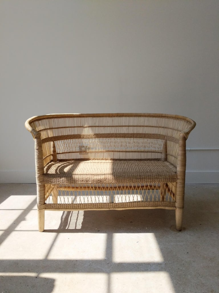 Organic Modern Handwoven Cane Loveseat For Sale