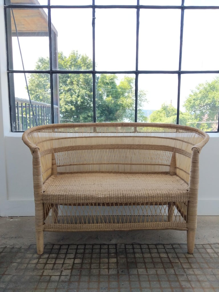 Malawian Handwoven Cane Loveseat For Sale